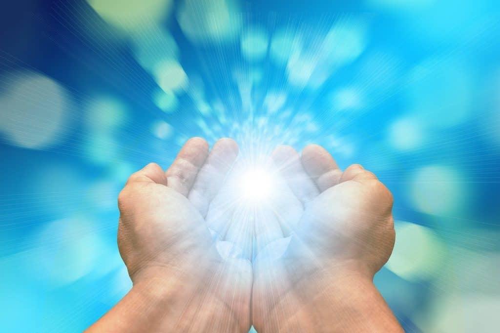 hands, received on, light